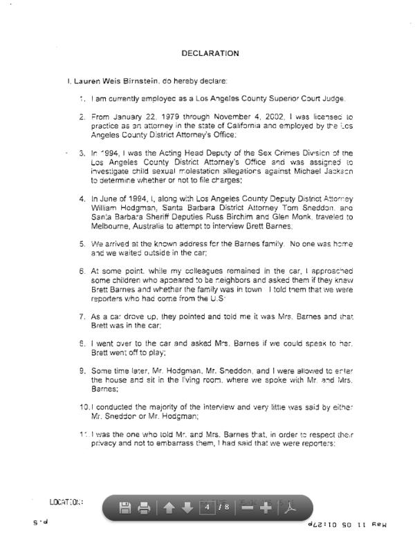 Declaration of Det. Lauren Weis, part 1 of 2