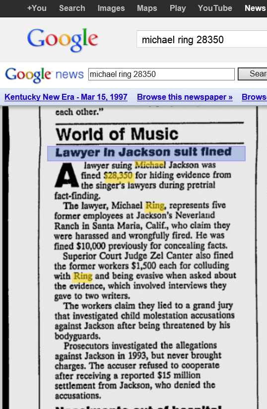 newspaper article on Michael Ring being fined for dishonesty during the Neverland 5 civil trial