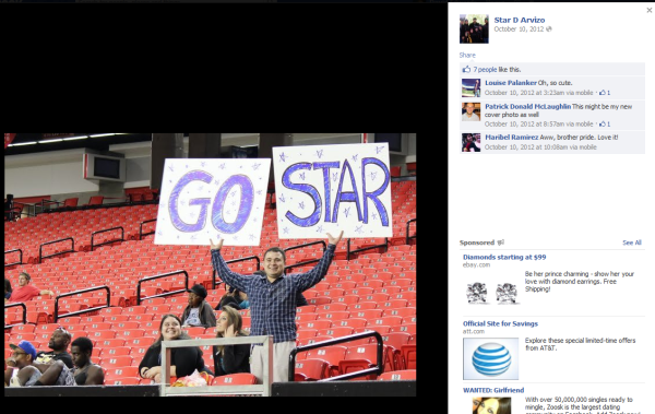 Gavin cheering for Star at his rugby game in Oct. 2012