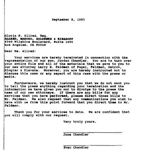 Gloria Allred Termination Letter