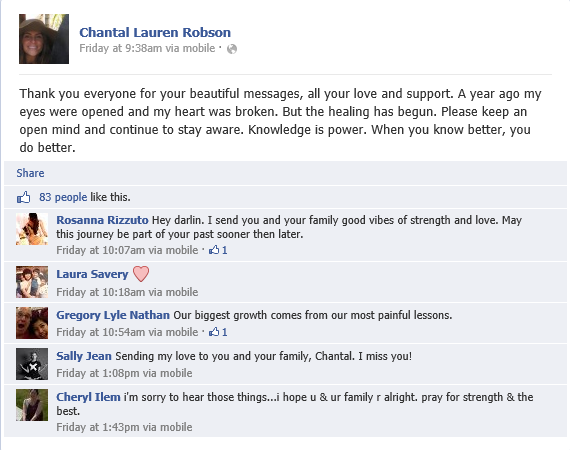 Chantal Robson's FB post thanking people for their support