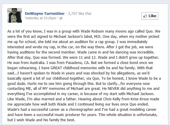 DeWayne Turrentine's statement about Wade Robson's allegations against MJ
