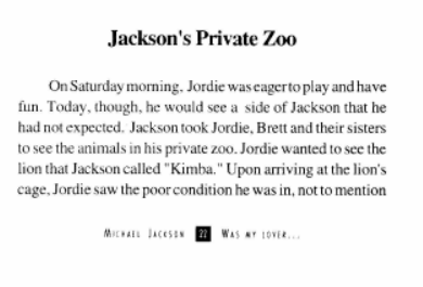 excerpt from VG's book about Jackson throwing stones at his lions, part 1