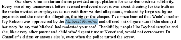 Joy Robson turned down money from National Enquirer to lie on MJ