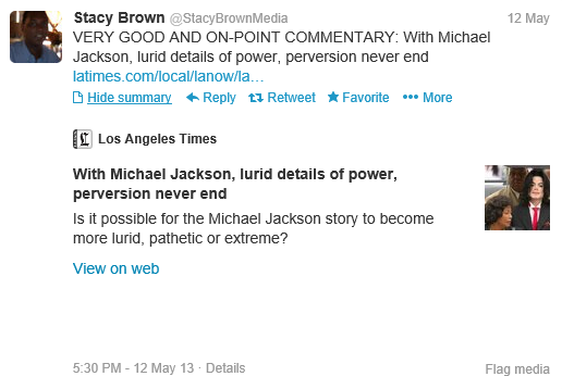 Stacy Brown approves of a trashy LA Times article about MJ