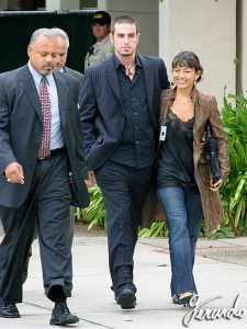 Wade Robson leaves court with his future wife
